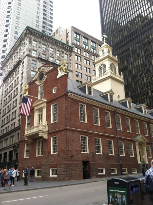 Old State House. Location of the Boston Massacre. Also, the balcony is where the Declaration of Independence was read for the first time.