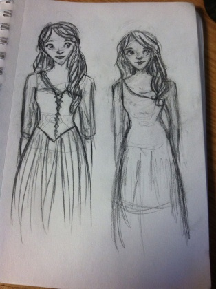 Left, a sketch of Cinderella from the upcoming live-action film. Don't know how accurate she is... I didn't use any references.Right: random girl in a dress