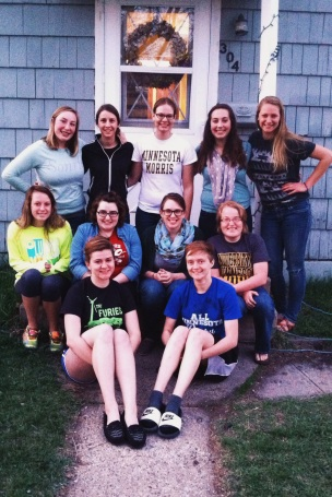 Family-style photo of this year's group at Jourdan's house.