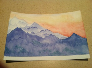 Mountain landscape. I gave this to my older brother for his birthday. The colors are uneven in some places... I need to do another like this to try and get it right.